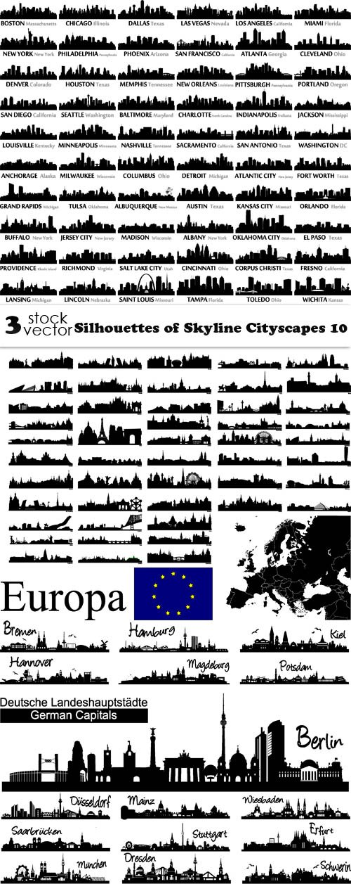 Vectors - Silhouettes of Skyline Cityscapes 10