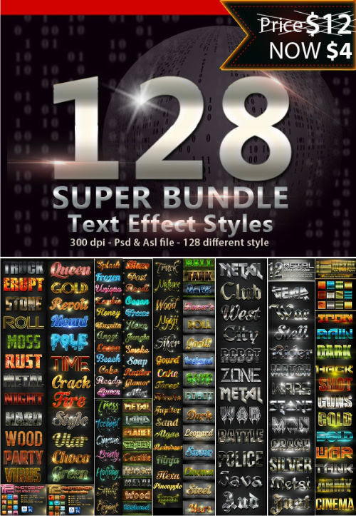 128 Super Bundle Text Styles 13784521 (Graphicriver)