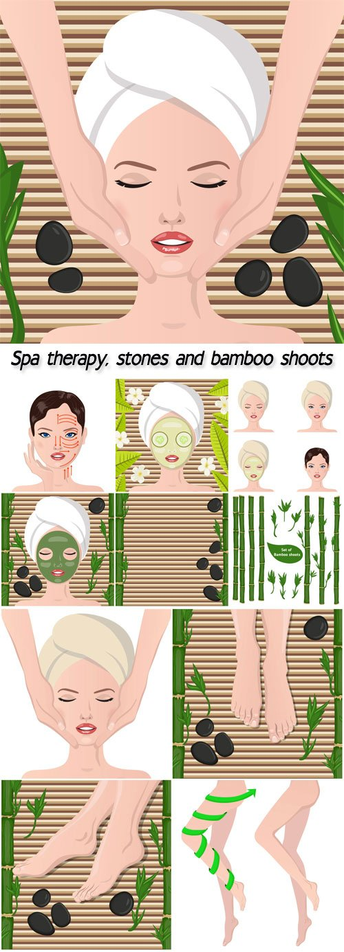 Spa therapy, stones and bamboo shoots