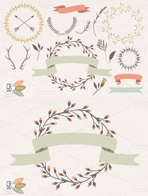 Wreaths laurels ribbons folk flowers - Creativemarket 17955