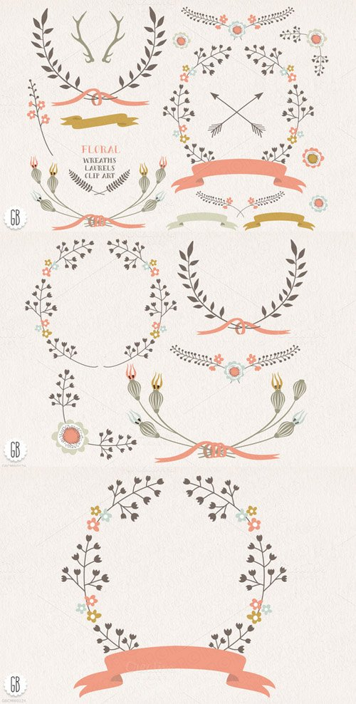 Floral wreaths laurels ribbons c73 - Creativemarket 28486