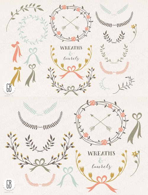 Wreaths laurels ribbons folk flowers - Creativemarket 24553