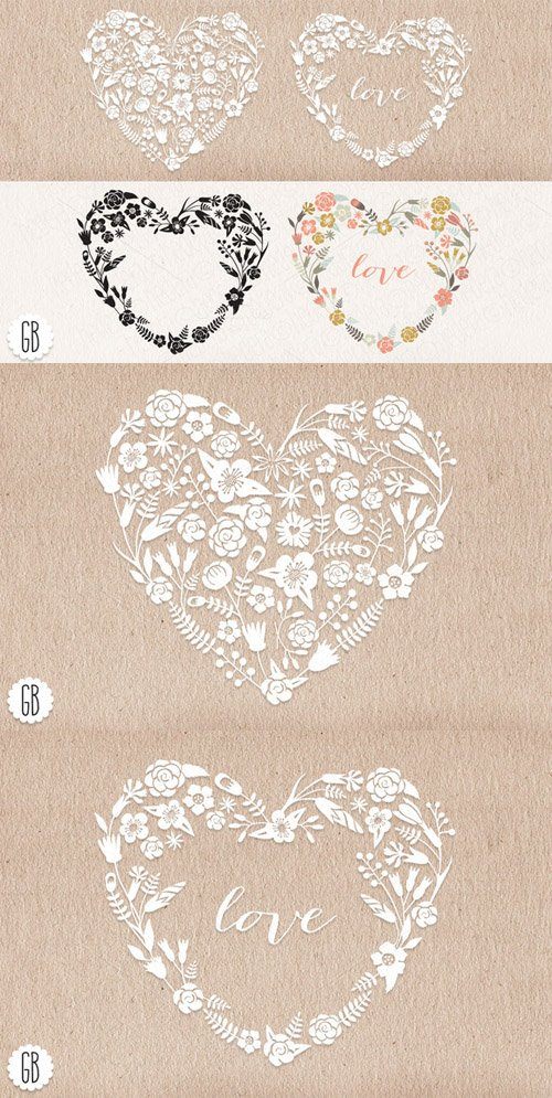 Floral heart wreaths papel picado - Creativemarket 23275