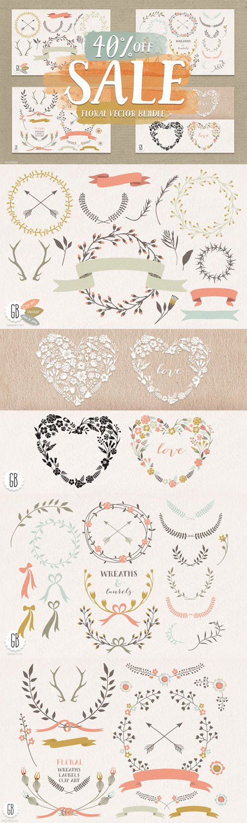 SALE! Floral elements, wreaths. - Creativemarket 46843