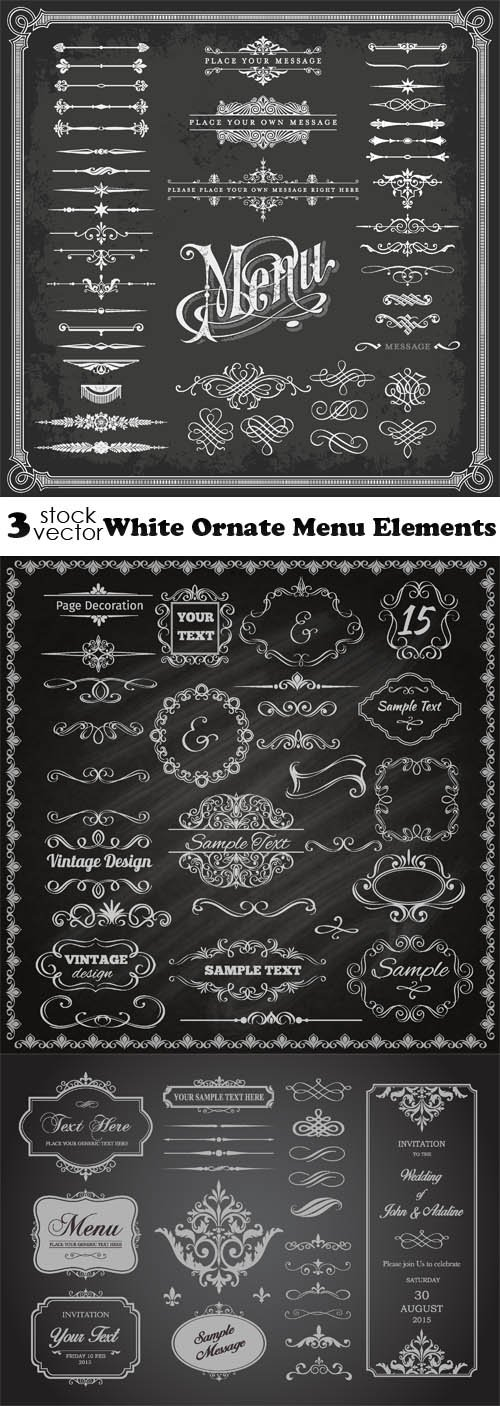 Vectors - White Ornate Menu Elements