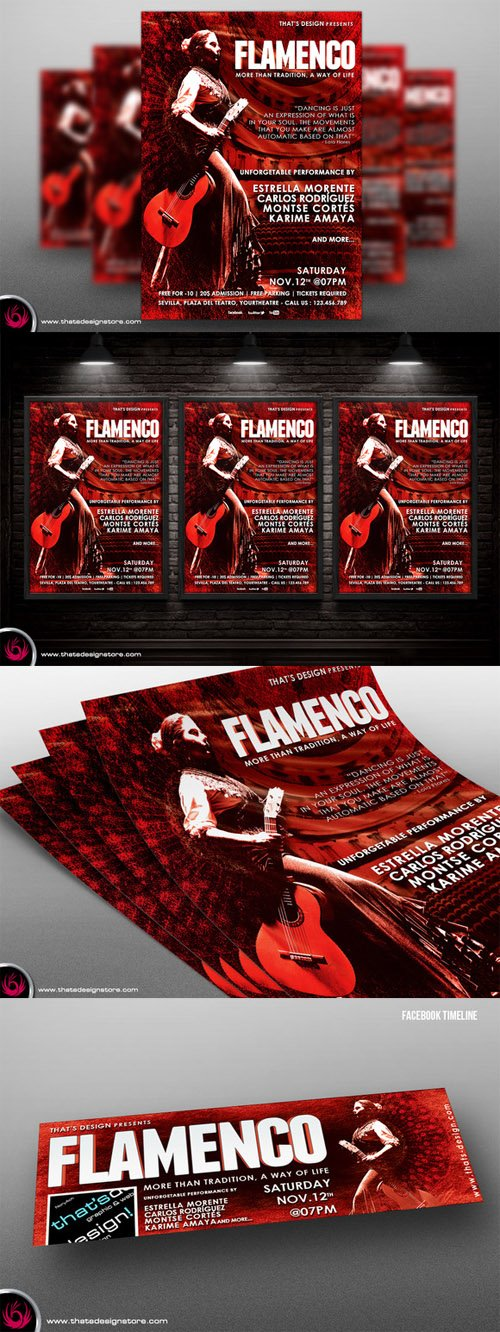 Flamenco Flyer Template V1 - Creativemarket 90668