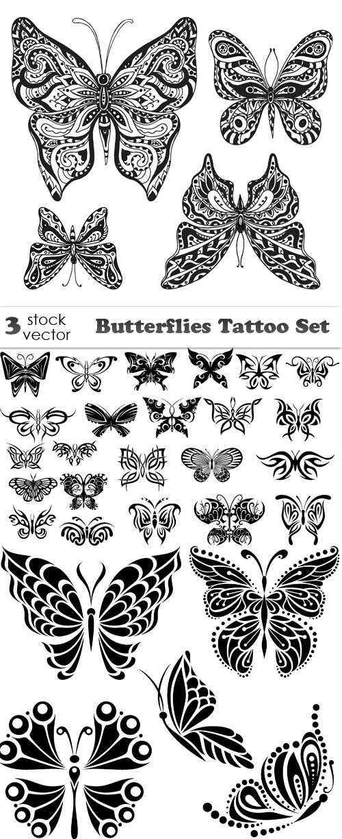 Vectors - Butterflies Tattoo Set