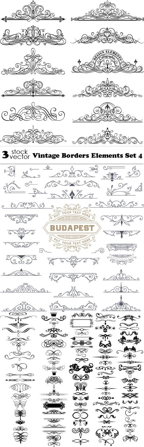 Vectors - Vintage Borders Elements Set 4