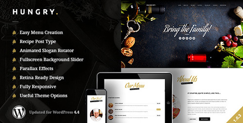 ThemeForest - Hungry v1.0.2 - A WordPress One Page Restaurant Theme - 10398557