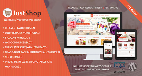 ThemeForest - Justshop v6.4 - Cake Bakery WordPress Theme - 4747148