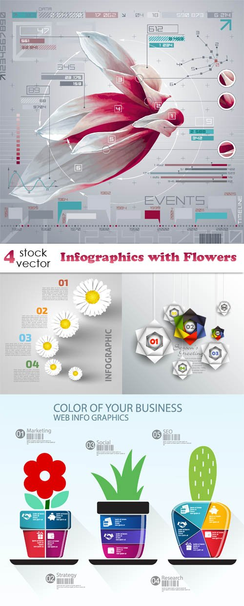 Vectors - Infographics with Flowers