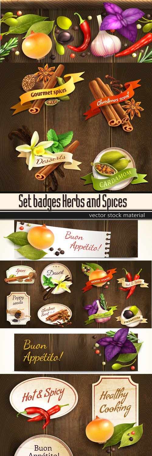Set badges Herbs and Spices