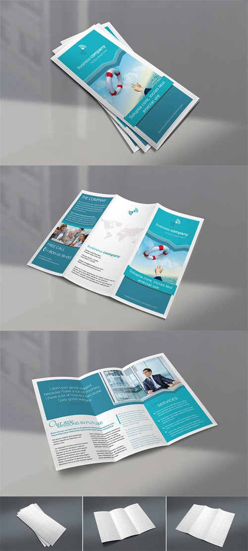 Business Company Trifold Brochure Mock-Up