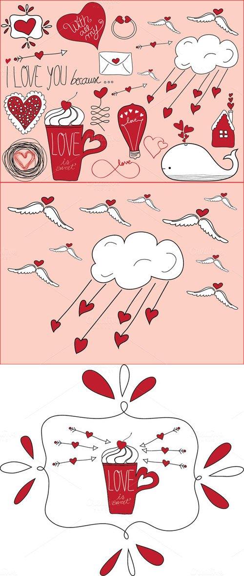 Valentine's Day Doodles - Creativemarket 152769