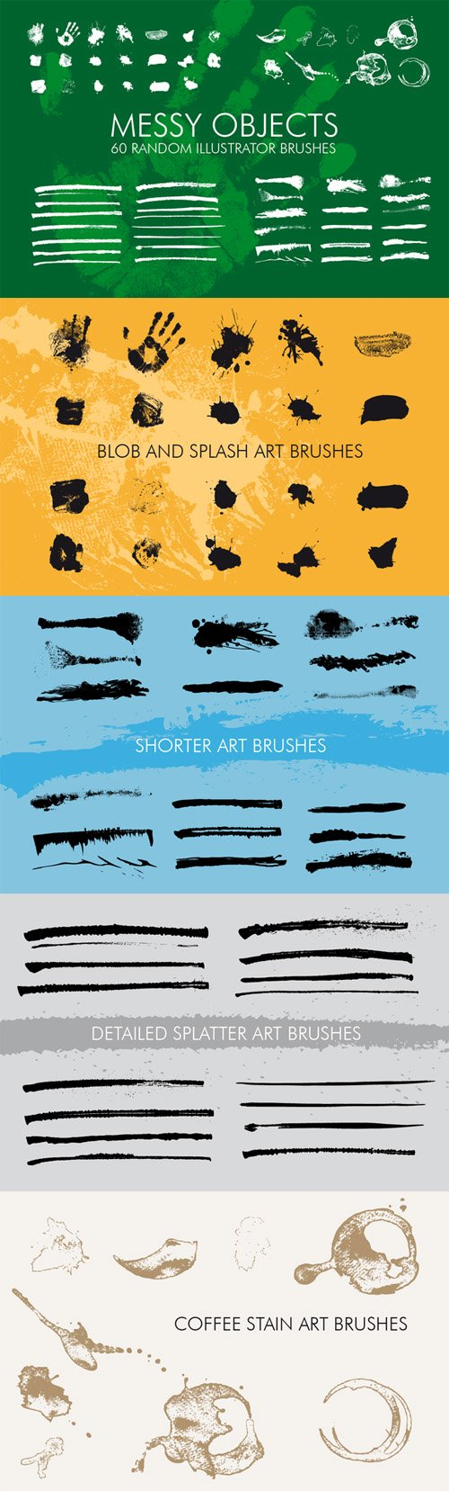 60 Messy Illustrator Brushes - Creativemarket 173190