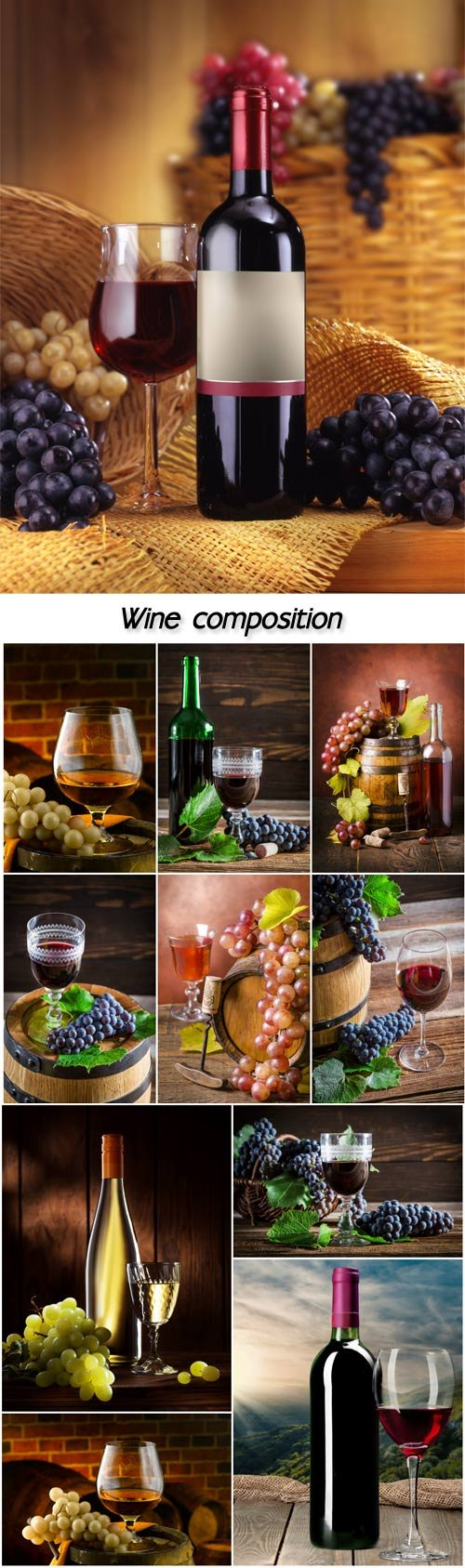Wine, composition from wine bottles and grapes