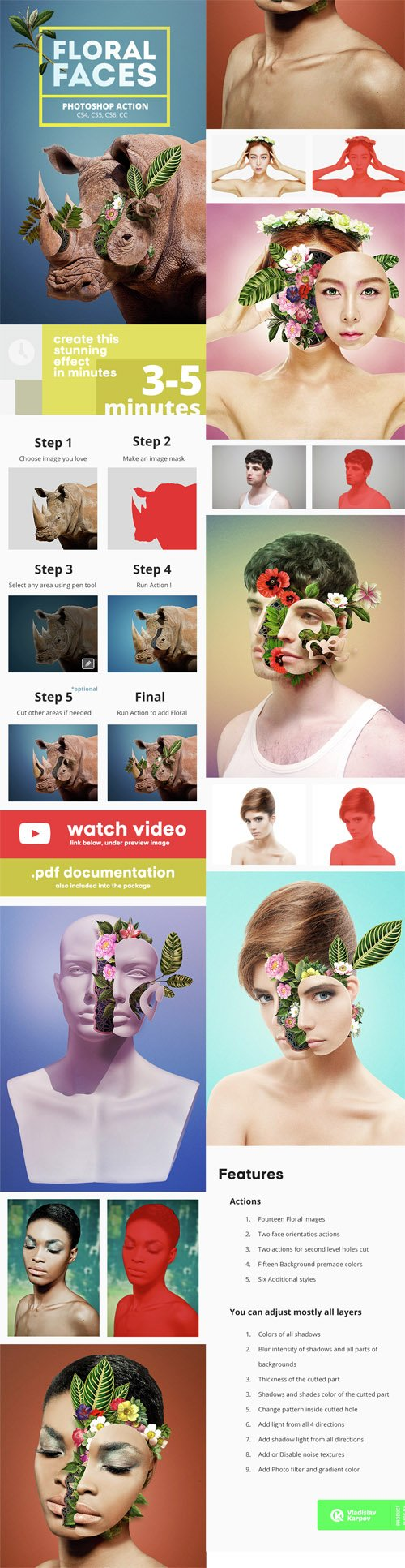 GraphicRiver - Floral Faces - Photoshop Action 14523331