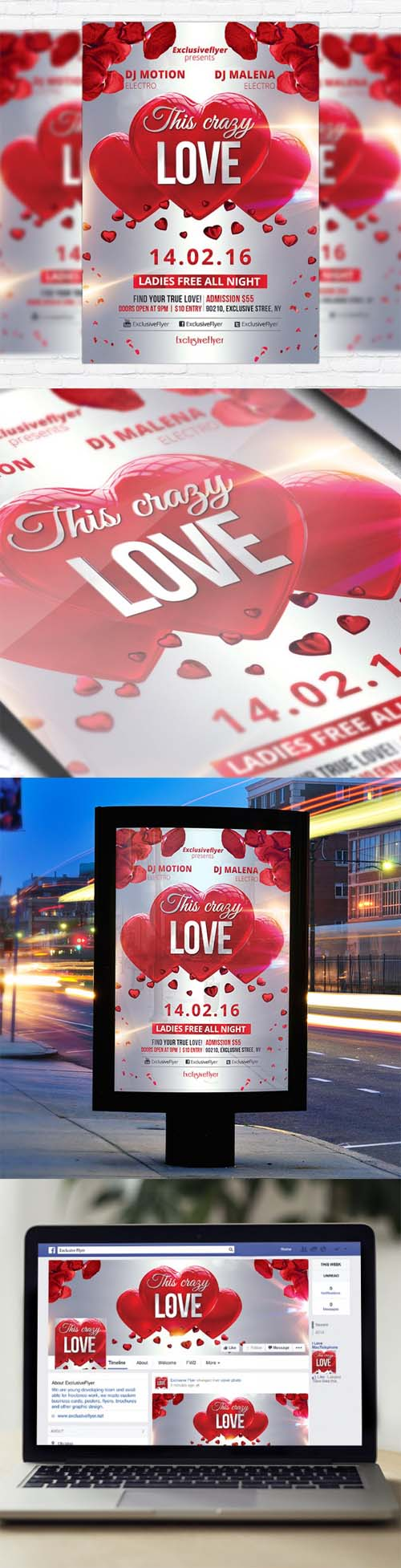 Flyer Template - This Crazy Love + Facebook Cover