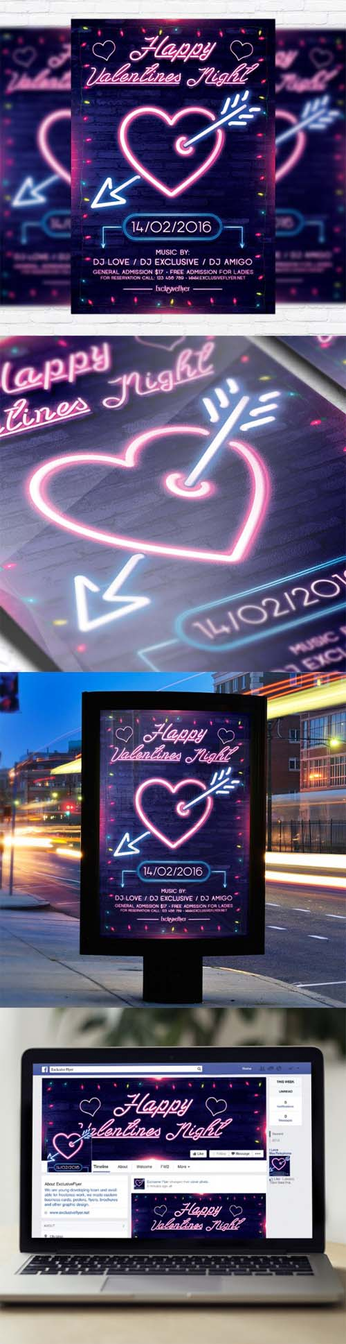 Flyer Template - Neon Valentines Night + Facebook Cover