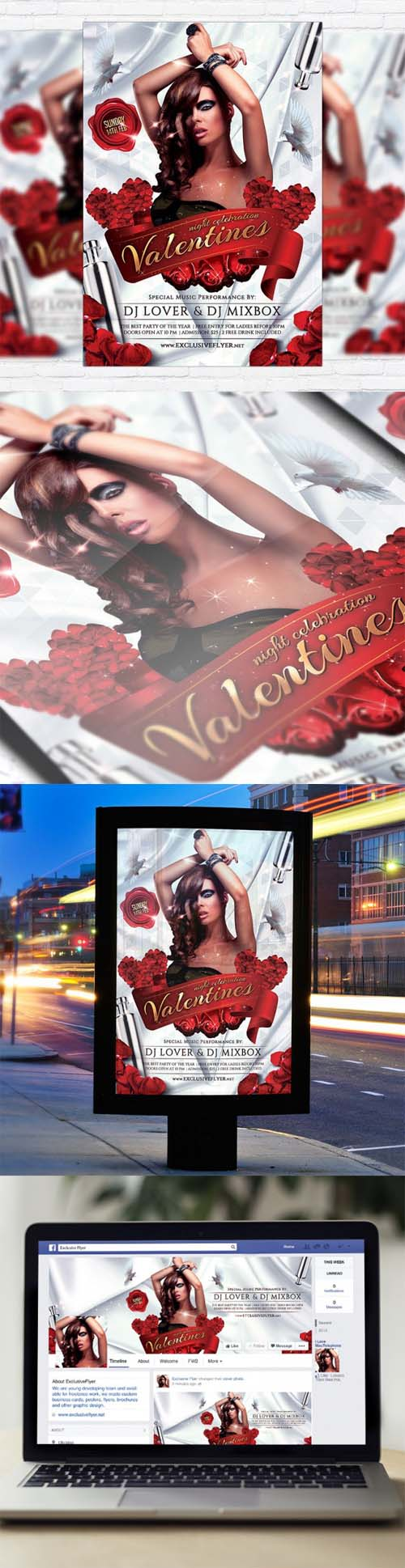 Flyer Template - Valentines Night Celebration + Facebook Cover