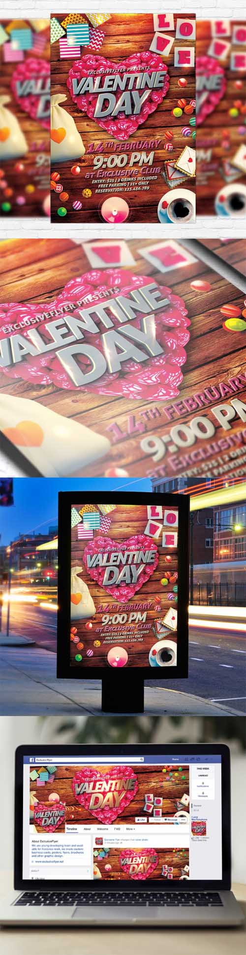 Flyer Template - Happy Valentines Day + Facebook Cover