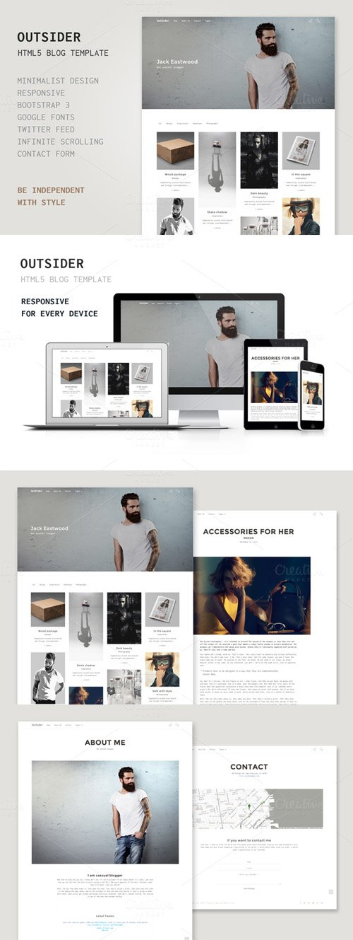 Outsider - HTML5 Blog Template - Creativemarket 296517