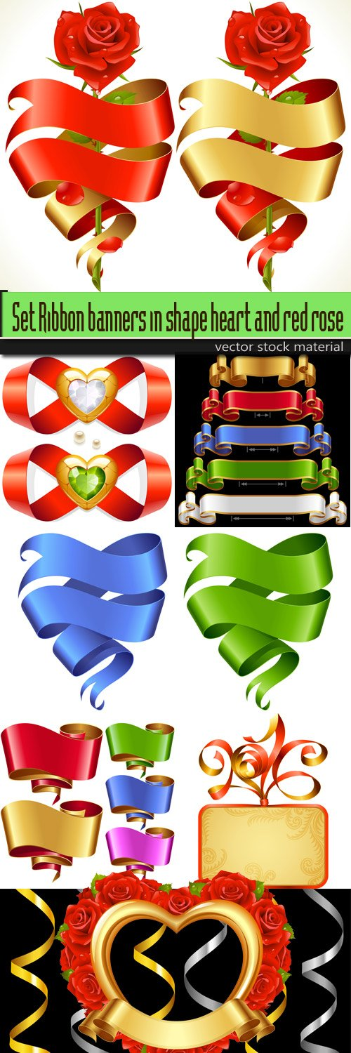 Set Ribbon banners in shape heart and red rose