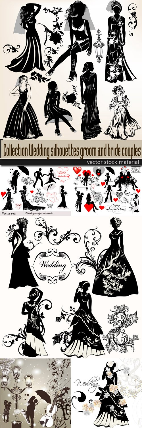 Collection Wedding silhouettes groom and bride couples