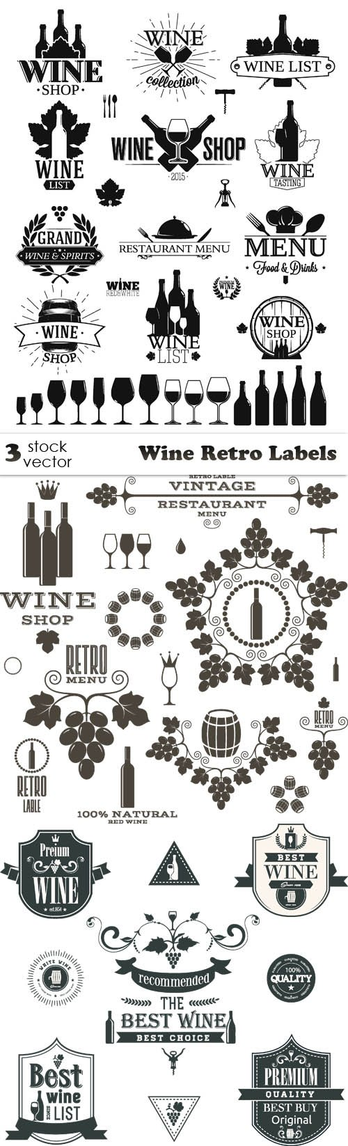 Vectors - Wine Retro Labels