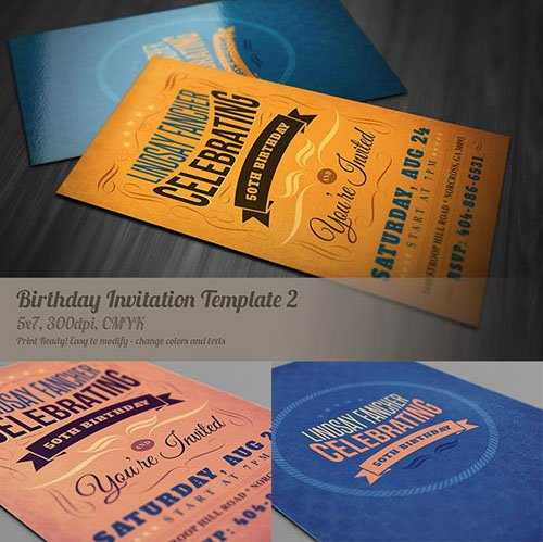 Retro Birthday Invitation Template 2