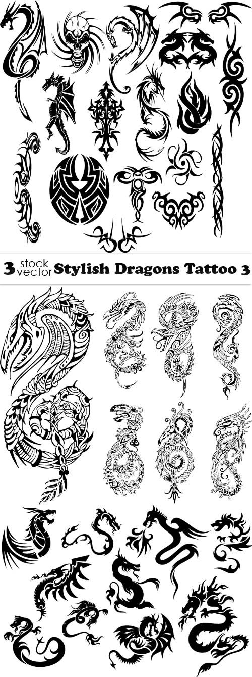 Vectors - Stylish Dragons Tattoo 3
