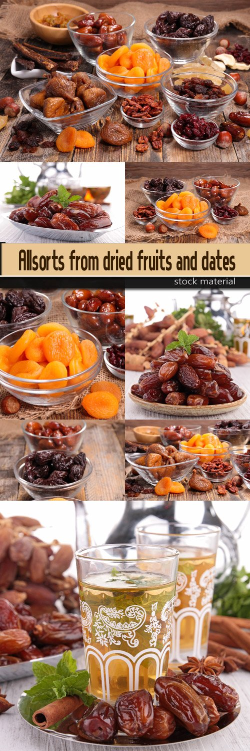 Allsorts from dried fruits and dates