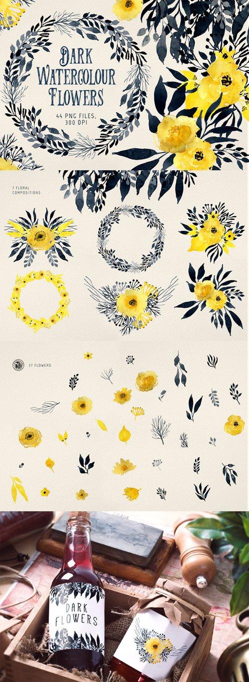 Dark Watercolour Flowers - Creativemarket 475301