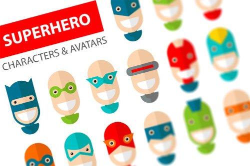 Happy Superhero Character Icons - Creativemarket 104936