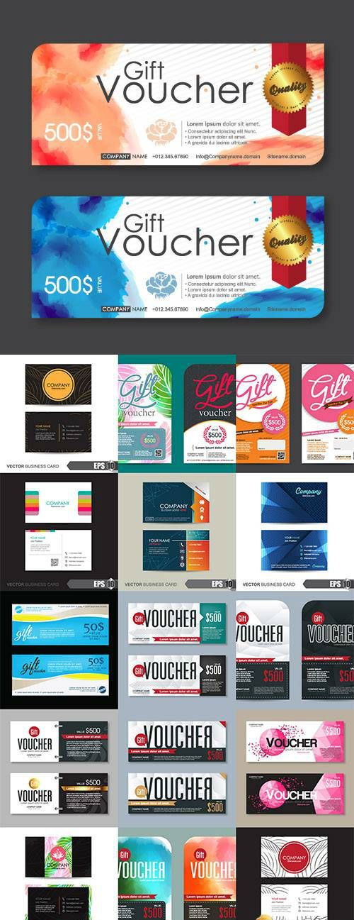 Vector Voucher and business card template