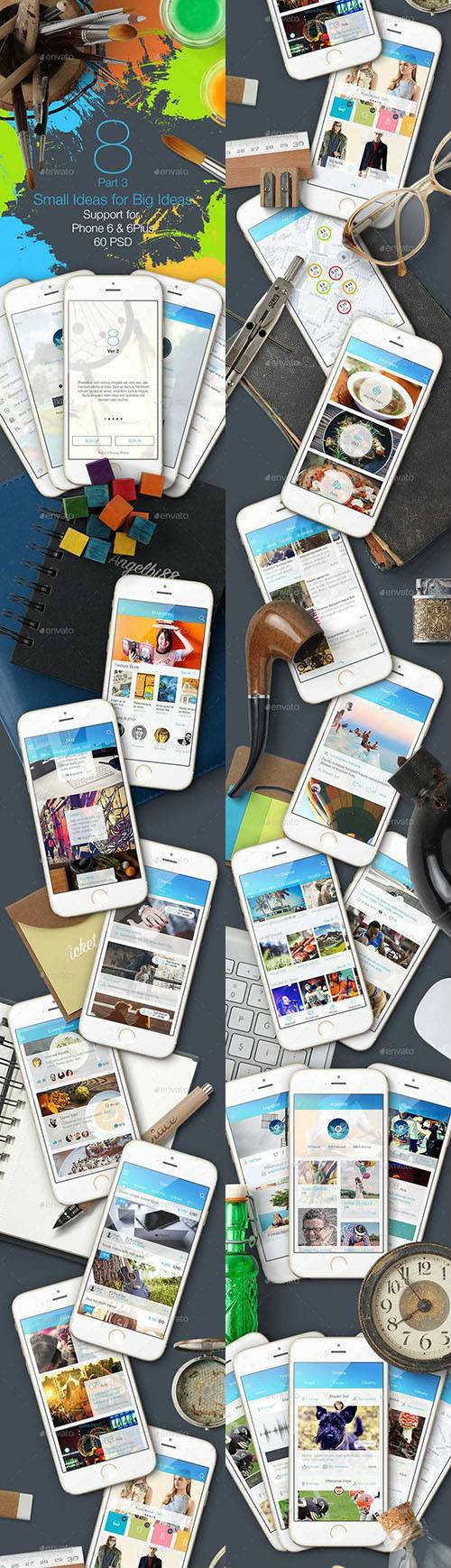 8 Part 3 Mobile UI Kit 9447664 - Graphicriver