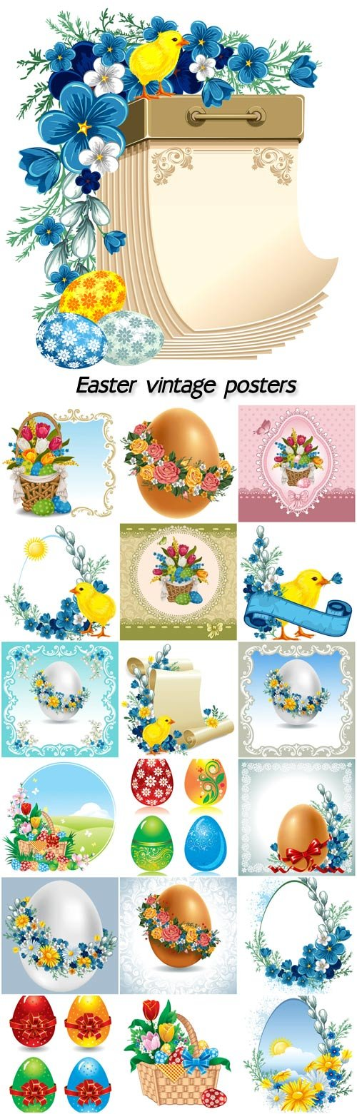 Easter vintage posters vector, baskets of flowers, chick, easter eggs