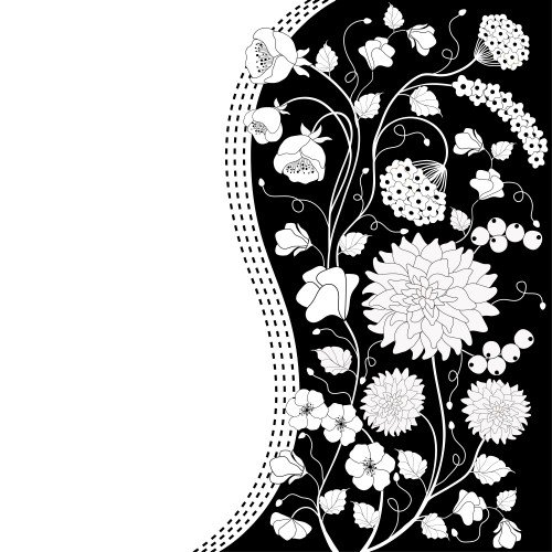 Vector black and white floral background