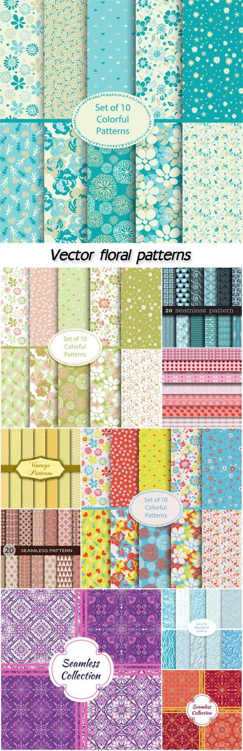 Vector textures, backgrounds with floral patterns and ornaments