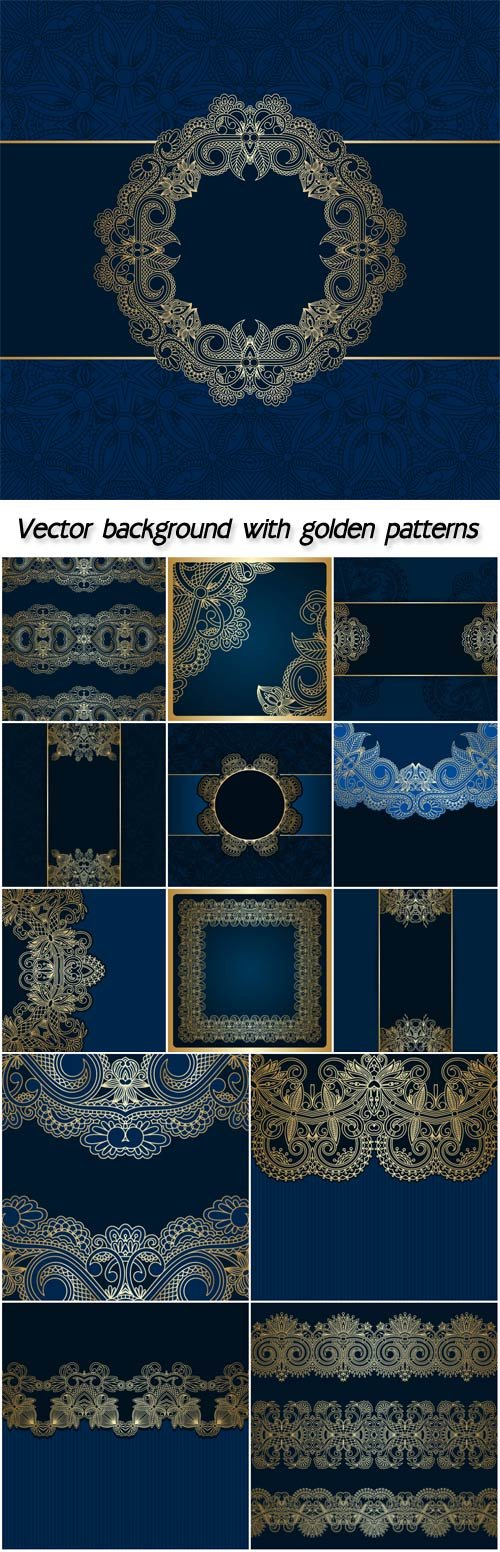 Blue vector background with golden patterns