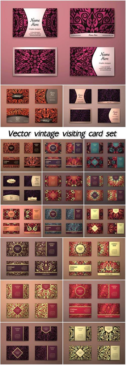 Vector vintage visiting card set, floral mandala pattern