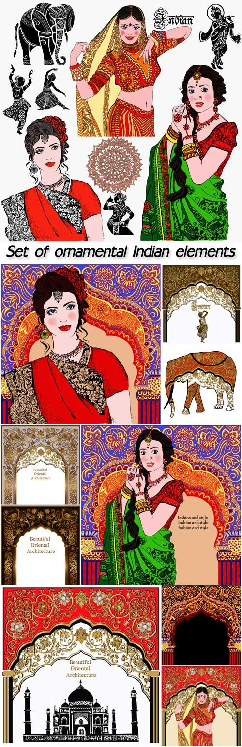 Set of ornamental Indian elements and symbols, indian woman, elephant