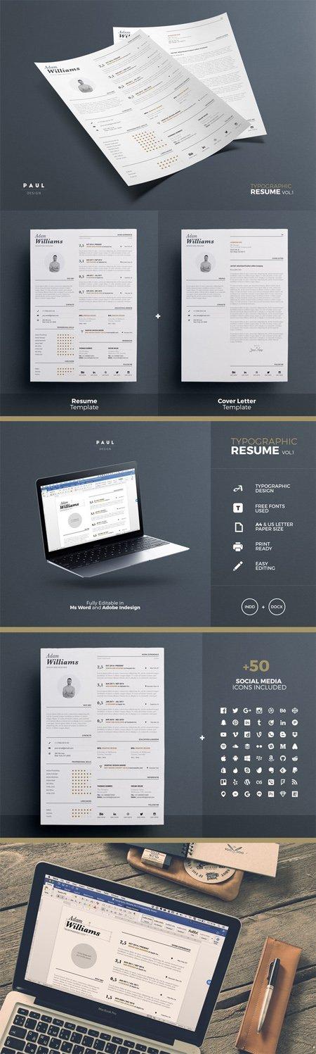 cm typographic resume word indesign 543455 scripts