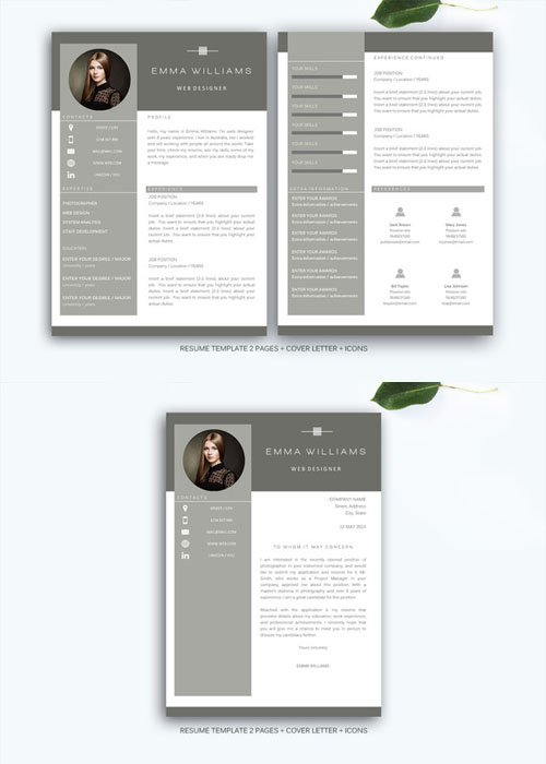 Resume template for MS Word - Creativemarket 208265