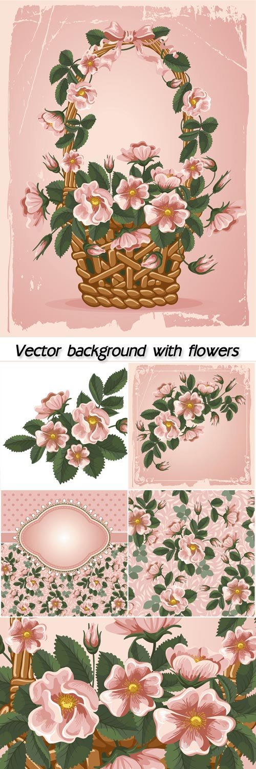 Vintage vector background with flowers of rose hips