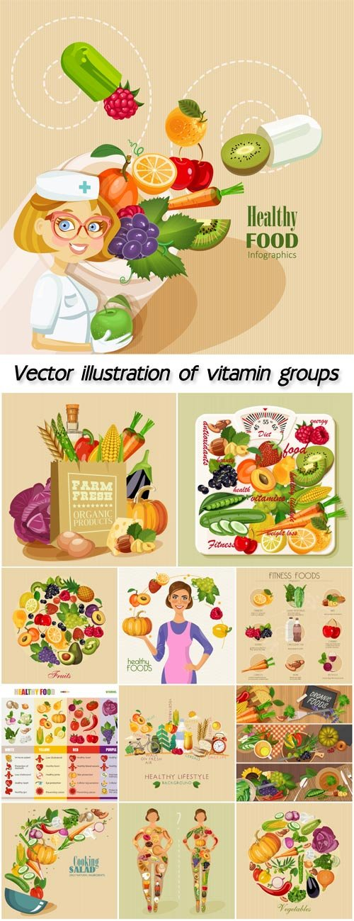 Vector illustration of vitamin groups, fruit and vegetables set