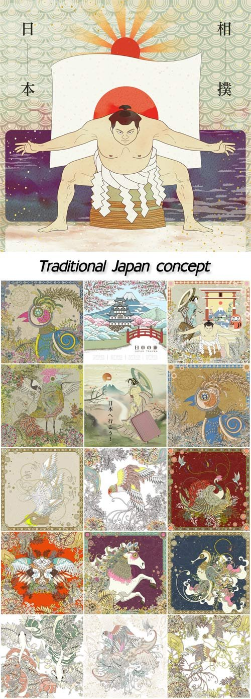 Traditional Japan concept coloring page