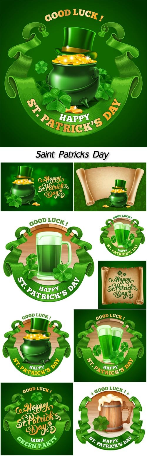 Saint Patricks day card design with goblets of green beer, shamrock, and rounded