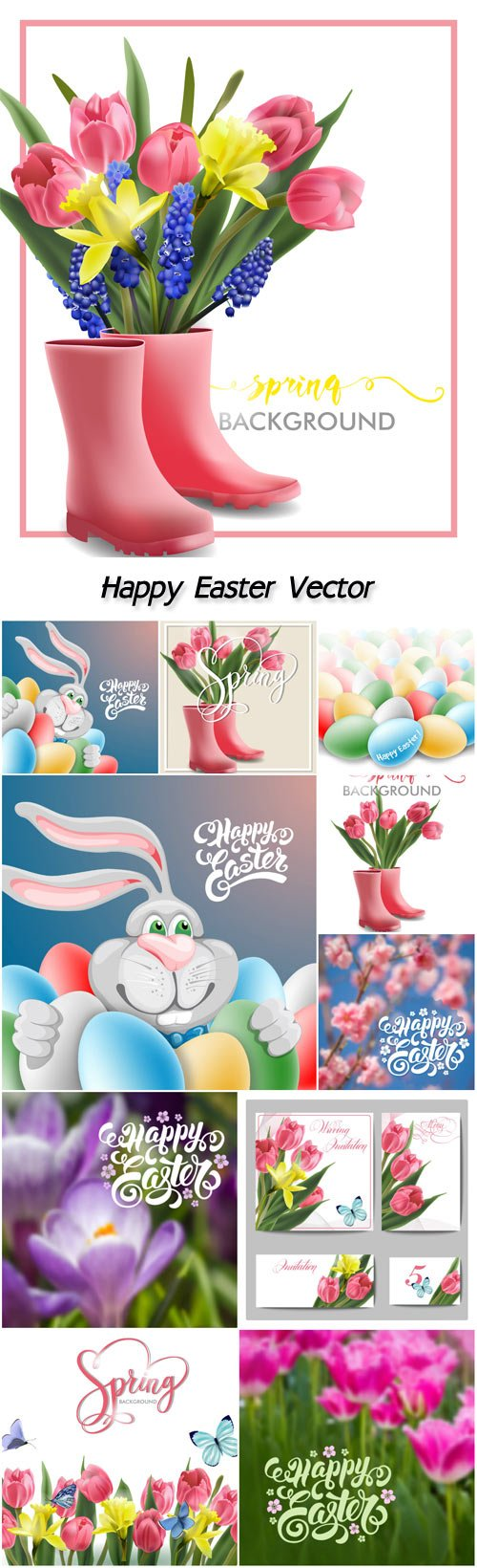 Happy Easter, spring background, flowers, pink tulips, butterflies