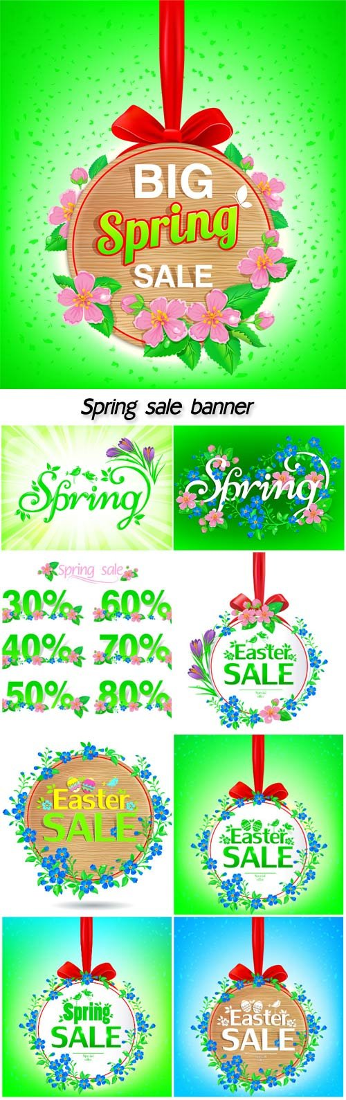 Spring flowers background, sale banner